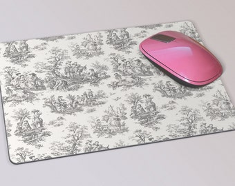 Fabric Mousepad, Mousemat, 5mm Black Rubber Base, 19 x 23 cm - Vintage French Black and Cream Toile Patterned Mousepad Mousemat