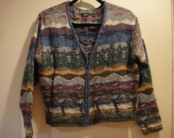Vintage 90's Icelandic Design Zip front sweater