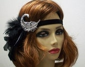 1920s Flapper headpiece Great Gatsby 1920s headpiece Rhinestone feather headband 1920s Hair accessory  Art Deco style Vintage inspired $48.00 AT vintagedancer.com