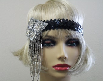 1920s headpiece, Flapper headpiece, Flapper headband, 1920s dress, 1920s headband, Sequin headband, 1920s hair accessory, Roaring 20s