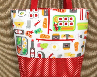 Medium Tote/Library Bag. Fabric-Blue/Yellow Seuss/ Cat in the Hat. Fully Lined & interfaced.
