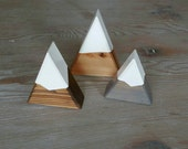 Snow Capped Mountain Trio: Mini Peaks Trio - Natural, Walnut + Gray Snow Capped Mountains