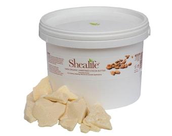Shea Life 100%  Organic Unrefined Cocoa Butter, 100g, 500g, 1KG, 2KG, 5KG, 10KG, 25KG