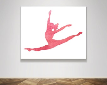 Silhouette Gymnastic Gymnast Dancer Dance Split Leap Watercolor Pink Blush Poster Print - Wall Art Print Home Decor Poster Child Nursery