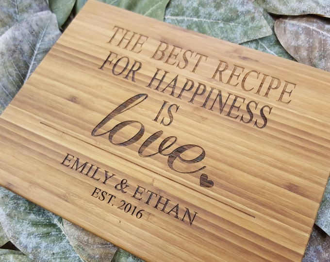 Custom Cutting Board -  Personalized Cutting Board - Bamboo Cutting Board - Cutting Board - Wedding Gift - 5th Anniversary Gift