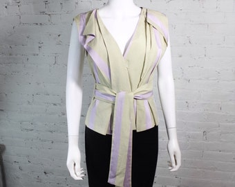 1990s Vivienne Westwood Red Label Blouse Shirt Top Lavender Beige Wrap 42