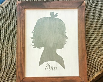 Framed Painted Children's Portrait Silhouettes on Wood