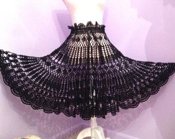 Black Lace Crochet Skirt With Adjustable Waist