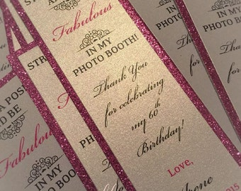 Pink Glitter Photo Booth Inserts