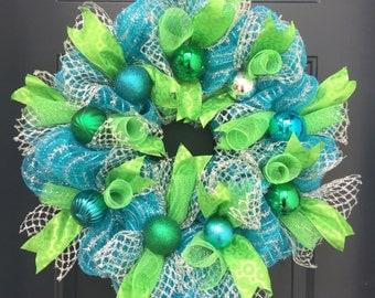 Teal Deco Mesh Christmas Wreath For Front Door, Christmas Ball  wreath, Blue Deco Mesh Christmas wreath, Lime green Christmas wreath,