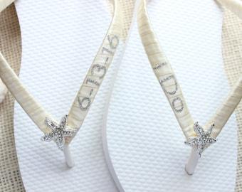 Seaside Wedding Flip Flops, I do bridal favor, bridal shower, gift for bride, save the date, wedding shoes, sandals, ivory satin flip flops