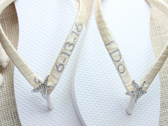 seaside wedding flip flops i do bridal favor bridal shower gift for