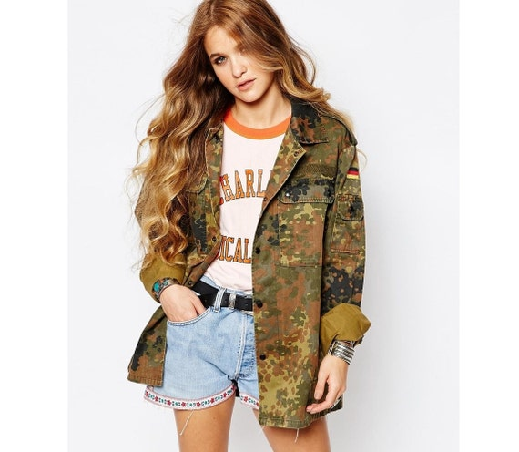 vintage women 39 s f2 german camo jacket coat surplus army. Black Bedroom Furniture Sets. Home Design Ideas