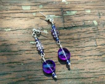 Handmade Amethyst dangle earrings