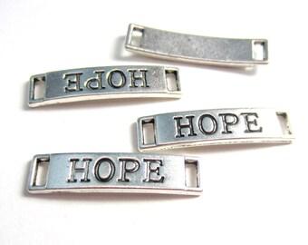 10pcs Antique Silver Large Hope Rectangle Links Metal Bracelet Necklace Links Connectors