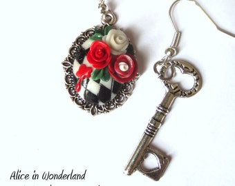 """Painting the roses red"""" -earrings clay"""