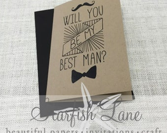 Moustache Best Man Card with envelope