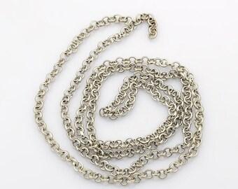 1 Meter Platinum Silver Iron Cross Chain