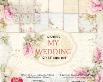 """12""""x12""""paper pad , double sided paper , designer paper , Craft & You paper , scrapbooking paper , floral paper ,  scrapbooking supplies"""