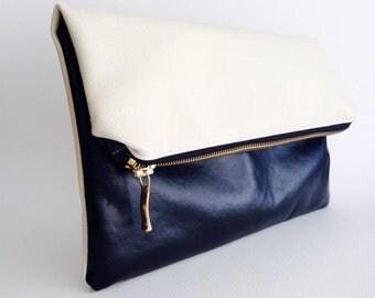 Fold over zipper clutch, pouch bag