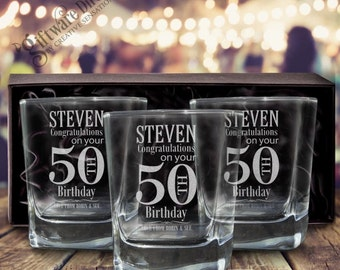 Personalised Birthday Engraved Triple Scotch Glass Set - 3 Glasses - GIFT BOXED - Free Shipping
