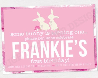some bunny is turning one birthday invitation | DIGITAL DOWNLOAD