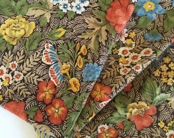 Set of 5 Fall Brown Blue Floral Butterfly Cotton Napkins