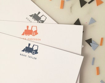 Train Stationery - Boys Stationary Set of 20 Flat Note Cards