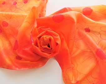 """Hand painted silk scarf. Handpainted silk scarf. Orange silk scarf with red flowers. Orange and red scarf.  17 x 71"""", 45 x 180 cm."""