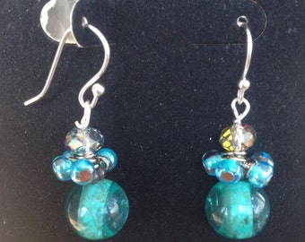 Earrings Hand-made Dangley Teal and Silver Beads for Sensitive Ears