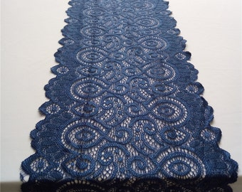 "Navy blue table runner, Lace table runner,   wide stretch lace , 7"" wide,  wedding table runner ,  wedding lace HD2706"