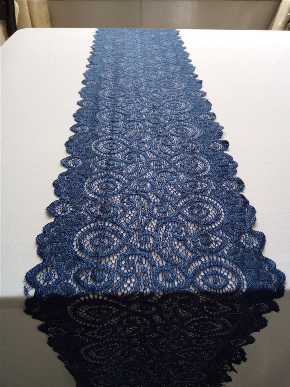 navy blue table runner lace table runner wide stretch lace. Black Bedroom Furniture Sets. Home Design Ideas