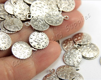 Ottoman Stamping Blanks, 50 pcs Brass Stamping Tags, (13mm x 10mm) Silver Tone Blanks, Ottoman Sign Stamping Tag Charms, Brass Blanks