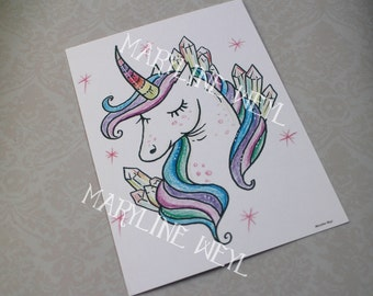 Card postal Unicorn Rainbow
