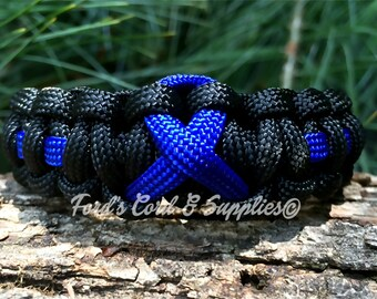 Blue Awareness Ribbon Bracelet, Paracord Bracelet, Colon Cancer, Arthritis, Anti-Bullying, Child Abuse Prevention, Ankylosing Spondolitis
