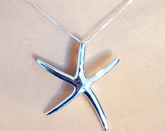 Extra Large Dancing Starfish Pendant Sterling Silver - Silver Sea Star necklace