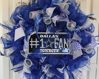 Dallas Cowboys Wreath. Custom professional or college sport team deco mesh wreath. Dallas Cowboys wreath Dallas Cowboys decor