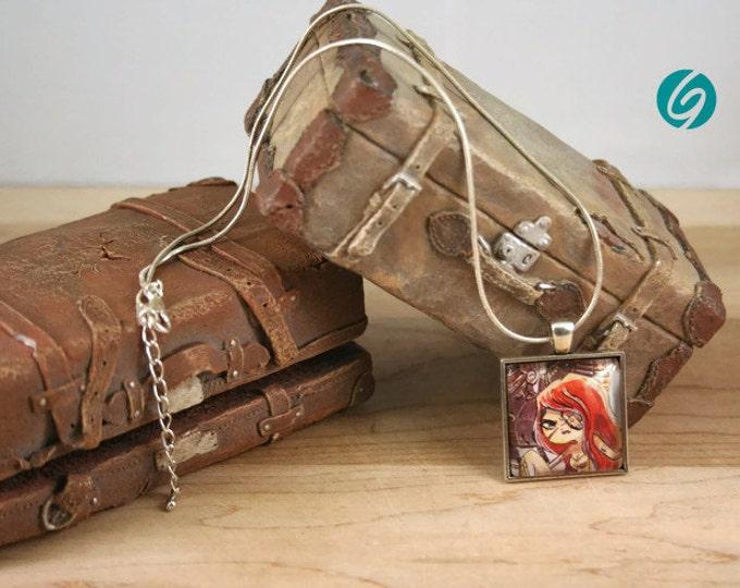 """Collier chaîne - médaillon cabochon """"BD"""" Pirate court -  bijoux mode fait main par Créations GEBO - Dessin original de ValMo-Illustrations"""