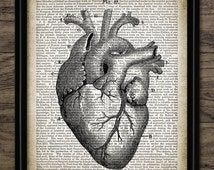 Vintage Human Heart Print On Dictionary Page Background - Human Heart Anatomy Illustration - Science - Single Print #1300 - INSTANT DOWNLOAD