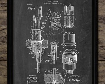 Beer Keg Tap Patent Print - 1903 Beer Keg Design - Brewing Industry - Bar And Pub Wall Art - Single Print #1495 - INSTANT DOWNLOAD