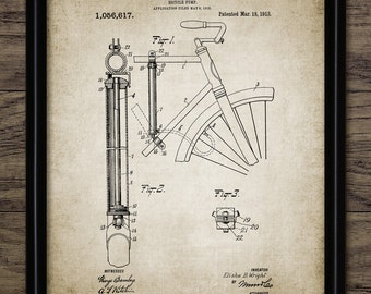 Bicycle Pump Patent Print - 1913 Bicycle Pump Design - Vintage Bicycle Wall Art - Cycling Equipment - Single Print #1505 - INSTANT DOWNLOAD