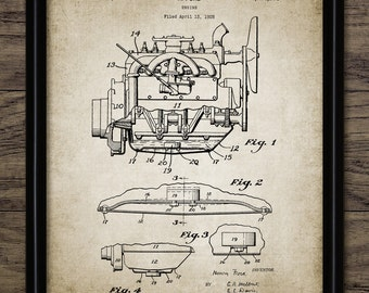 Combustion Engine Patent Print - 1930 Car Engine Design - American Car Engine - Garage Mechanic Gift - Single Print #2024 - INSTANT DOWNLOAD