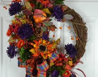 Fall Door Wreath - Autumn Door Wreaths - Thanksgiving Wreaths - Fall Front Door Wreaths - Autumn Front Door Wreaths - Fall wreaths for door