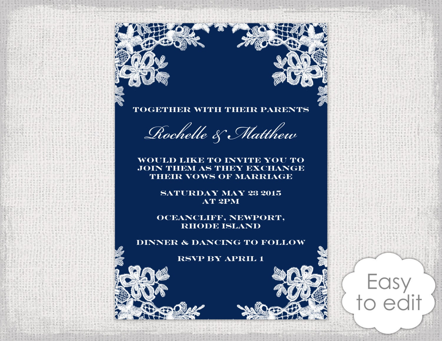 Lace Wedding Invitation Template: Navy Wedding Invitations Template DIY Floral Lace
