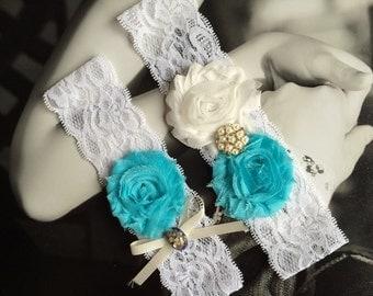 Something Blue,White And Tiffany Blue Wedding Garter Set,Blue Bridal Garter Set,Shell Garter Set,Beach Wedding MG160