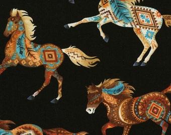 "EOB Southwest Horses Fabric; C5036; End of Bolt - 32""; Timeless Treasures; Southwest; Quilt, Apparel, Decor"