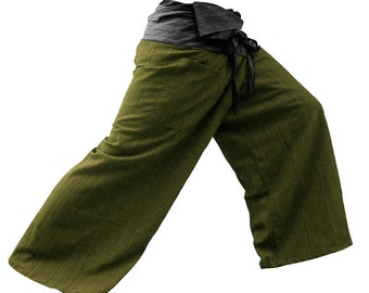 2 TONE Thai Fisherman Pants Cotton (Striped) Waist Charcoal.