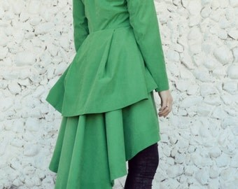 Extravagant Taffeta Jacket / Green Spring Jacket / Elegant Green Jacket / Flounce Jacket / Flounce Taffeta Jacket TC65 by TEYXO