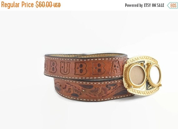 70 s vintage tooled leather belt with the name bubba