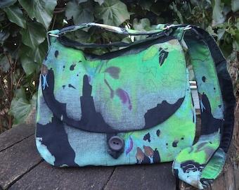Green and black corduroy shoulder bag,buttoned bag